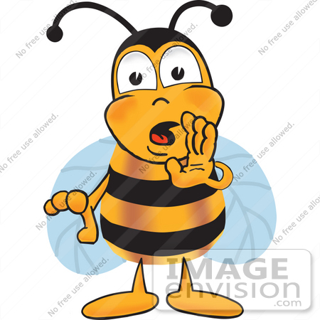 #22881 Clip art Graphic of a Honey Bee Cartoon Character Whispering and Gossiping by toons4biz