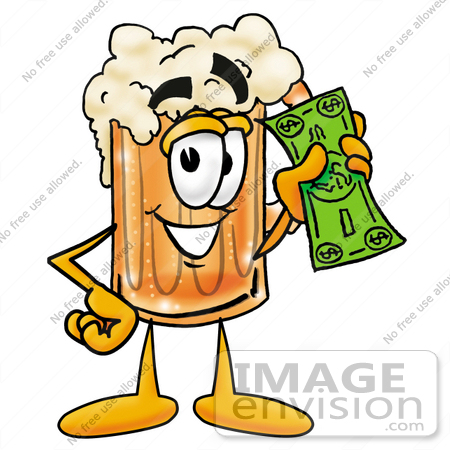 #22886 Clip art Graphic of a Frothy Mug of Beer or Soda Cartoon Character Holding a Dollar Bill by toons4biz