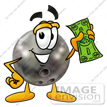 #22888 Clip Art Graphic of a Bowling Ball Cartoon Character Holding a Dollar Bill by toons4biz