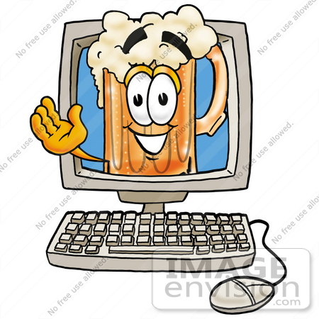 #22892 Clip art Graphic of a Frothy Mug of Beer or Soda Cartoon Character Waving From Inside a Computer Screen by toons4biz