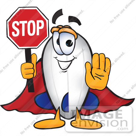 #22899 Clip art Graphic of a Dirigible Blimp Airship Cartoon Character Holding a Stop Sign by toons4biz
