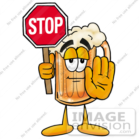 #22900 Clip art Graphic of a Frothy Mug of Beer or Soda Cartoon Character Holding a Stop Sign by toons4biz