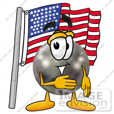 #22921 Clip Art Graphic of a Bowling Ball Cartoon Character Pledging Allegiance to an American Flag by toons4biz