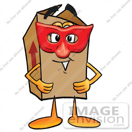 #22927 Clip Art Graphic of a Cardboard Shipping Box Cartoon Character Wearing a Red Mask Over His Face by toons4biz