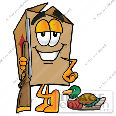 #22931 Clip Art Graphic of a Cardboard Shipping Box Cartoon Character Duck Hunting, Standing With a Rifle and Duck by toons4biz