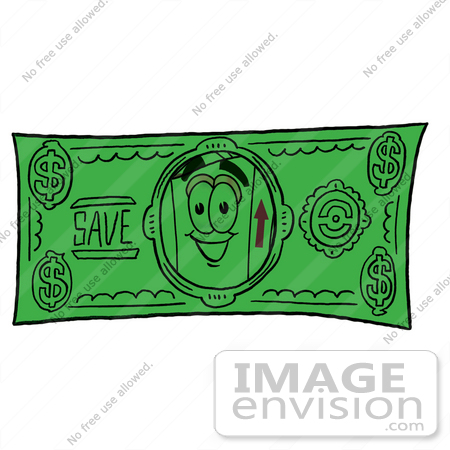 #22933 Clip Art Graphic of a Cardboard Shipping Box Cartoon Character on a Dollar Bill by toons4biz