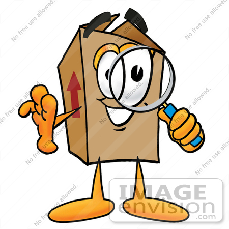 #22939 Clip Art Graphic of a Cardboard Shipping Box Cartoon Character Looking Through a Magnifying Glass by toons4biz