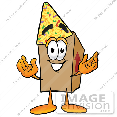 #22940 Clip Art Graphic of a Cardboard Shipping Box Cartoon Character Wearing a Birthday Party Hat by toons4biz