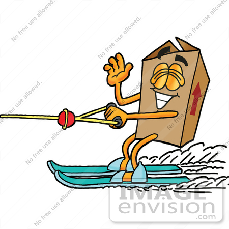 #22942 Clip Art Graphic of a Cardboard Shipping Box Cartoon Character Waving While Water Skiing by toons4biz