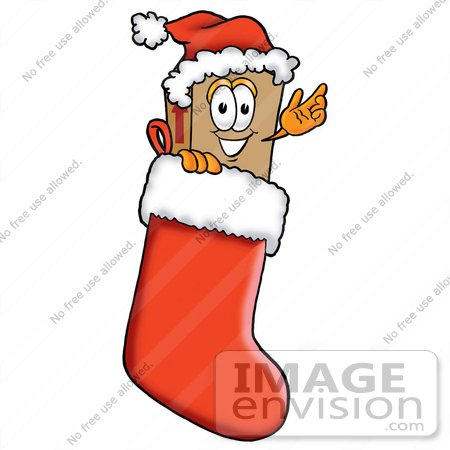 #22948 Clip Art Graphic of a Cardboard Shipping Box Cartoon Character Wearing a Santa Hat Inside a Red Christmas Stocking by toons4biz