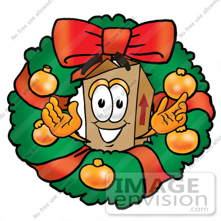 #22956 Clip Art Graphic of a Cardboard Shipping Box Cartoon Character in the Center of a Christmas Wreath by toons4biz