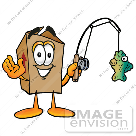 #22957 Clip Art Graphic of a Cardboard Shipping Box Cartoon Character Holding a Fish on a Fishing Pole by toons4biz