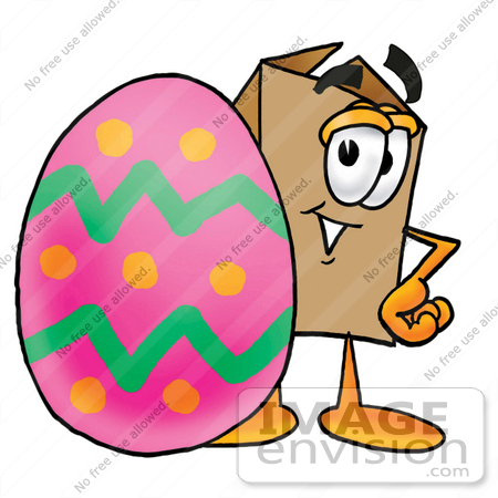 #22959 Clip Art Graphic of a Cardboard Shipping Box Cartoon Character Standing Beside an Easter Egg by toons4biz