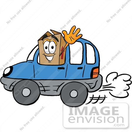 #22965 Clip Art Graphic of a Cardboard Shipping Box Cartoon Character Driving a Blue Car and Waving by toons4biz