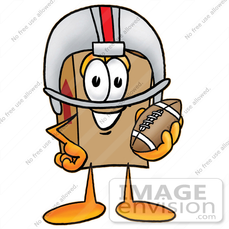 #22968 Clip Art Graphic of a Cardboard Shipping Box Cartoon Character in a Helmet, Holding a Football by toons4biz