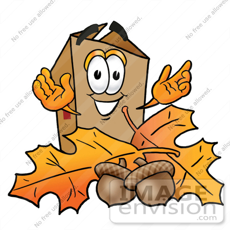 #22972 Clip Art Graphic of a Cardboard Shipping Box Cartoon Character With Autumn Leaves and Acorns in the Fall by toons4biz
