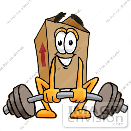#22973 Clip Art Graphic of a Cardboard Shipping Box Cartoon Character Lifting a Heavy Barbell by toons4biz