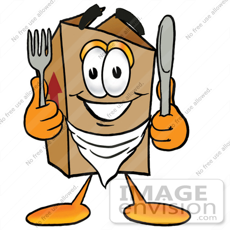 #22974 Clip Art Graphic of a Cardboard Shipping Box Cartoon Character Holding a Knife and Fork by toons4biz
