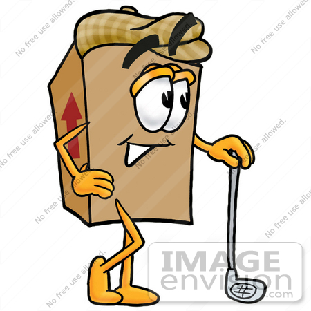 #22980 Clip Art Graphic of a Cardboard Shipping Box Cartoon Character Leaning on a Golf Club While Golfing by toons4biz