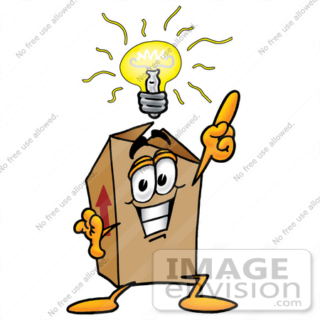 #22984 Clip Art Graphic of a Cardboard Shipping Box Cartoon Character With a Bright Idea by toons4biz