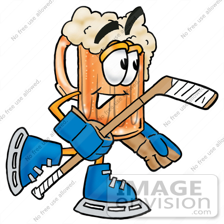 #22994 Clip art Graphic of a Frothy Mug of Beer or Soda Cartoon Character Playing Ice Hockey by toons4biz