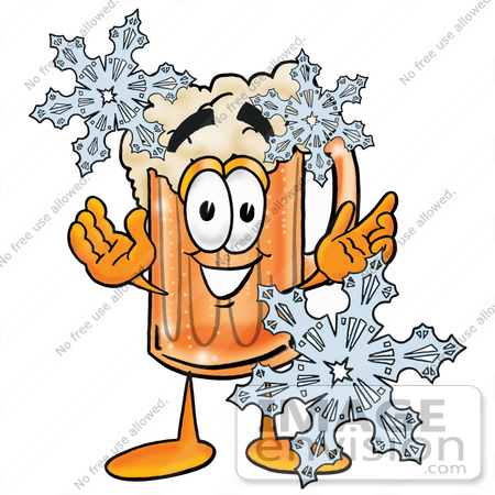 #23000 Clip art Graphic of a Frothy Mug of Beer or Soda Cartoon Character With Three Snowflakes in Winter by toons4biz