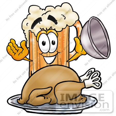 #23003 Clip art Graphic of a Frothy Mug of Beer or Soda Cartoon Character Serving a Thanksgiving Turkey on a Platter by toons4biz