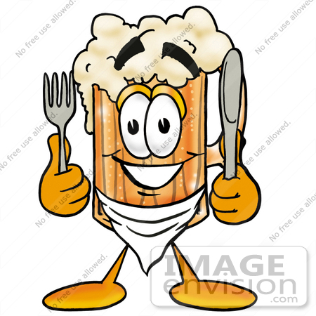 #23004 Clip art Graphic of a Frothy Mug of Beer or Soda Cartoon Character Holding a Knife and Fork by toons4biz
