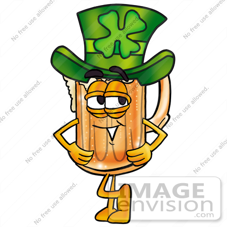 #23005 Clip art Graphic of a Frothy Mug of Beer or Soda Cartoon Character Wearing a Saint Patricks Day Hat With a Clover on it by toons4biz