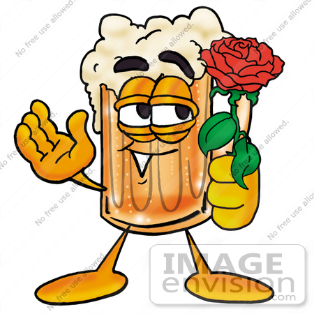 #23007 Clip art Graphic of a Frothy Mug of Beer or Soda Cartoon Character Holding a Red Rose on Valentines Day by toons4biz