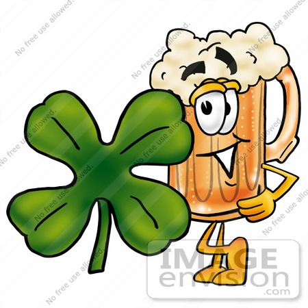 #23016 Clip art Graphic of a Frothy Mug of Beer or Soda Cartoon Character With a Green Four Leaf Clover on St Paddy's or St Patricks Day by toons4biz