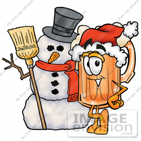 #23022 Clip art Graphic of a Frothy Mug of Beer or Soda Cartoon Character With a Snowman on Christmas by toons4biz