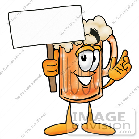 #23030 Clip art Graphic of a Frothy Mug of Beer or Soda Cartoon Character Holding a Blank Sign by toons4biz
