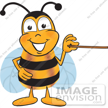 #23036 Clip art Graphic of a Honey Bee Cartoon Character Holding a Pointer Stick by toons4biz
