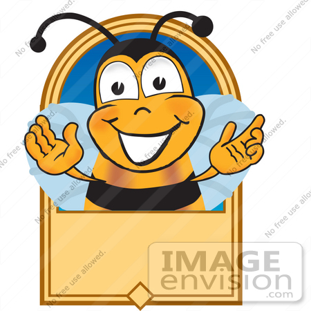 #23038 Clip art Graphic of a Honey Bee Cartoon Character Label by toons4biz