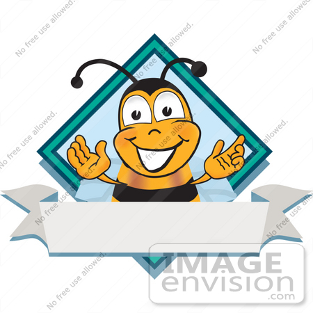 #23041 Clip art Graphic of a Honey Bee Cartoon Character Label by toons4biz