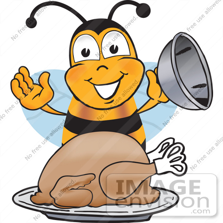 #23045 Clip art Graphic of a Honey Bee Cartoon Character Serving a Thanksgiving Turkey on a Platter by toons4biz