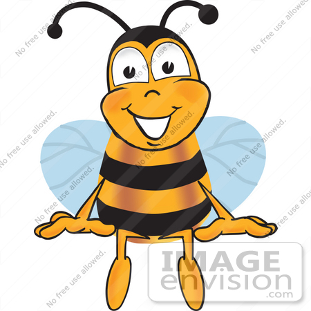 #23050 Clip art Graphic of a Honey Bee Cartoon Character Sitting by toons4biz