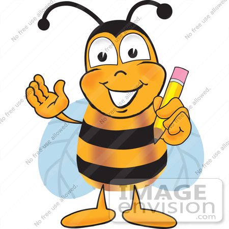 #23054 Clip art Graphic of a Honey Bee Cartoon Character Holding a Pencil by toons4biz