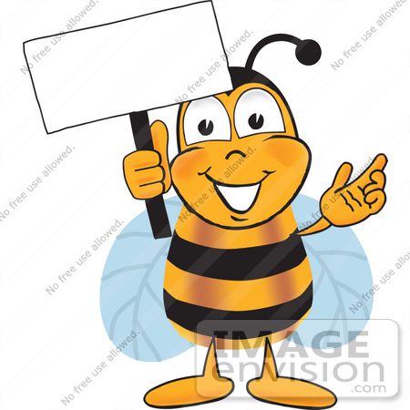 #23056 Clip art Graphic of a Honey Bee Cartoon Character Holding a Blank Sign by toons4biz