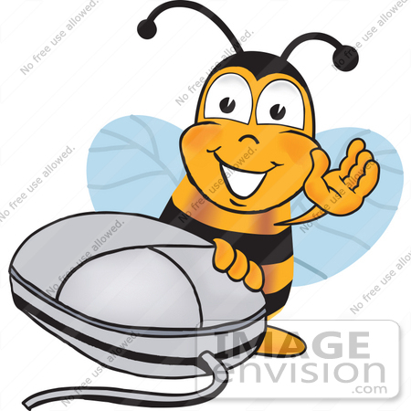 #23059 Clip art Graphic of a Honey Bee Cartoon Character With a Computer Mouse by toons4biz