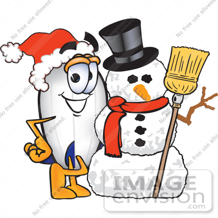 #23071 Clip art Graphic of a Dirigible Blimp Airship Cartoon Character With a Snowman on Christmas by toons4biz