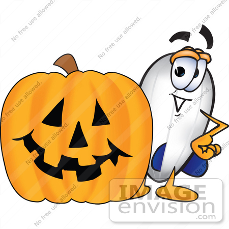 #23076 Clip art Graphic of a Dirigible Blimp Airship Cartoon Character With a Carved Halloween Pumpkin by toons4biz