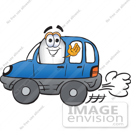 #23077 Clip art Graphic of a Dirigible Blimp Airship Cartoon Character Driving a Blue Car and Waving by toons4biz
