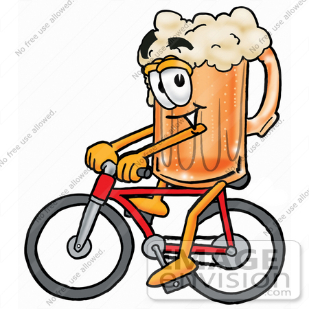 #23089 Clip art Graphic of a Frothy Mug of Beer or Soda Cartoon Character Riding a Bicycle by toons4biz