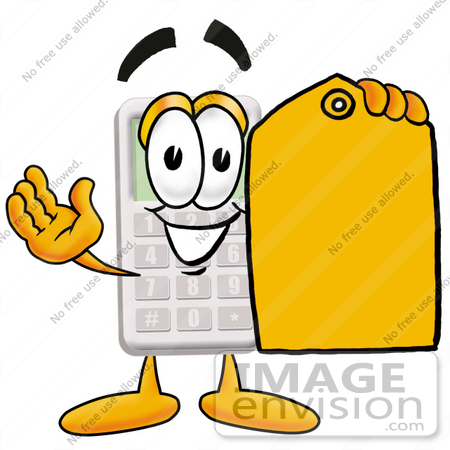 #23124 Clip Art Graphic of a Calculator Cartoon Character Holding a Yellow Sales Price Tag by toons4biz