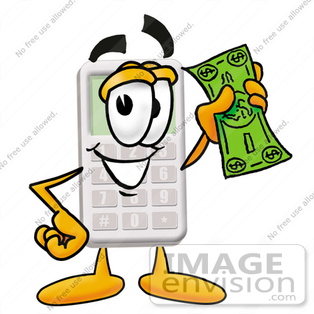 clip art graphic of a calculator cartoon character holding a dollar rh imageenvision com  bill of rights clipart