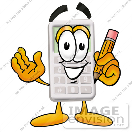 #23129 Clip Art Graphic of a Calculator Cartoon Character Holding a Pencil by toons4biz