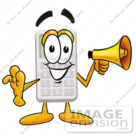#23132 Clip Art Graphic of a Calculator Cartoon Character Holding a Megaphone by toons4biz