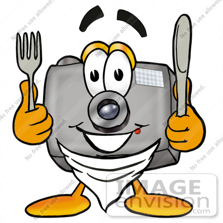 #23168 Clip Art Graphic of a Flash Camera Cartoon Character Holding a Knife and Fork by toons4biz
